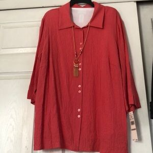 Alfred Dunner Parrot Cay coral long sleeve 1X